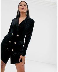 Missguided Tall Black Velvet Blazer Dress