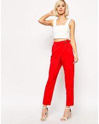 Lavish Alice D- Ring Peg Leg Pant - Red