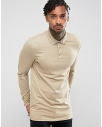 b767961d ASOS Longline Muscle Fit Long Sleeve Jersey Polo in Natural for Men ...