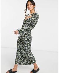 Fashion Union Платье Миди С Цветочным Принтом, Контрастной Окантовкой И Вырезом Капелькой -черный Цвет