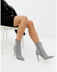 163bf291f85 Beck Gray Plaid Check Heeled Ankle Boots