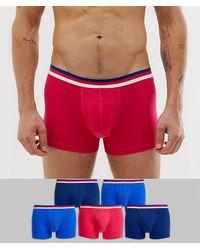 ASOS Pack de 5 calzoncillos en negro azul y rojo con cinturilla a rayas