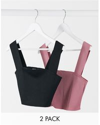 Missguided 2 Pack Ribbed Square Neck Crop Top - Black