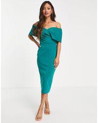 True Violet Vestido midi verde esmeralda ajustado con escote Bardot