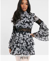 Missguided High Neck Skater Dress With Frill Sleeves - Black