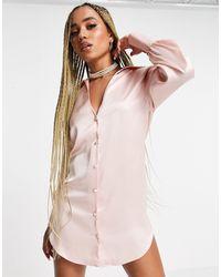 ASOS Свободное Атласное Платье-рубашка Мини С Глубоким Вырезом - Розовый