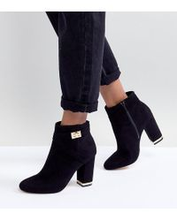 Lipsy Faux Suede Boots With Gold Trim - Black