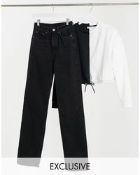 Weekday Row Organic Cotton Slim Straight Leg Jeans - Black
