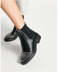 London Rebel Chunky Ankle Boots With Studs - Black