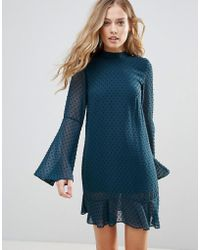 Oh My Love - Textured Flare Sleeve Shift Dress With Pephem - Lyst
