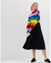 Monki - Buttoned Midi Skirt In Black - Lyst
