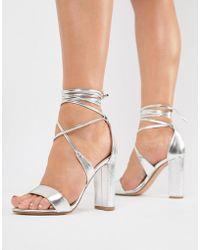 True Decadence Silver Ankle Tie Block Heeled Sandals - Metallic