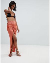 ASOS Slinky Knot Beach Sarong Skirt - Multicolour