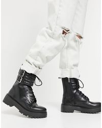 Pull&Bear Biker Boot With Quilted Straps - Black