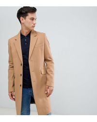 ASOS - Tall Wool Mix Overcoat In Camel - Lyst