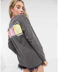 TOPSHOP 'utopia' Long Sleeve Skater T-shirt - Grey