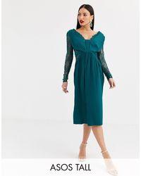 ASOS Бирюзовое Плиссированное Платье Миди С Длинными Рукавами И Кружевом - Зеленый