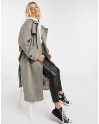 ASOS Brushed Twill Trench Coat - Grey