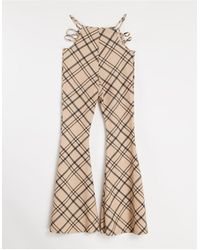 Fashionkilla Check Trousers With Cut Out Detail - Natural