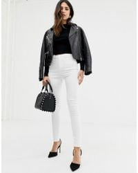 ASOS Ridley High Waisted Skinny Jeans In Optic White