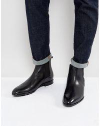 HUGO - Dressapp Burnished Calf Leather Chelsea Boot In Black - Lyst