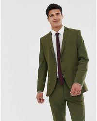 Jack & Jones Эластичный Приталенный Пиджак Премиум-класса Цвета Хаки -зеленый
