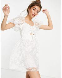 TOPSHOP Белое Платье Из Органзы С Вырезом -белый