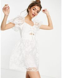 TOPSHOP Organza Dress With Cutout Detail - White