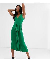 True Violet Vestido largo con detalle de volante en verde esmeralda exclusivo
