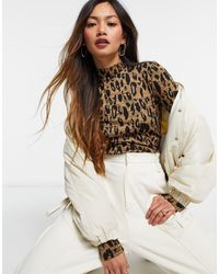 Whistles High Neck Leopard Print Jaquard Top - Brown