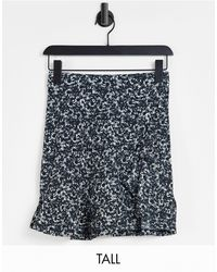 TOPSHOP Tall Printed Jersey Flippy Skirt - Blue