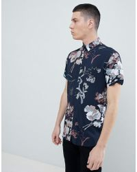 SELECTED - Short Sleeve Viscose Shirt With All Over Print - Lyst