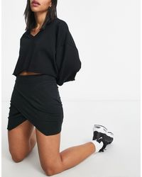 UNIQUE21 Knitted Wrap Mini Skirt - Black