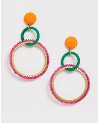South Beach Крупные Серьги-кольца -мульти - Многоцветный