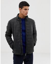 Esprit Faux Leather Padded Jacket In Dark Gray