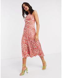 Karen Millen Robe imprimé animal - Rouge et blanc