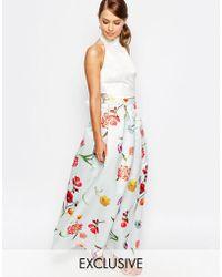 True Violet - Sateen Ball Maxi Skirt - Lyst