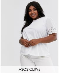 ASOS Asos Design Curve T-shirt With Broderie Sleeve - White