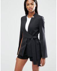 Lavish Alice Tie Front Split Sleeve Blazer - Black