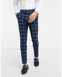 ASOS Wedding Super Skinny Suit Trousers Blue Highlight Tartan