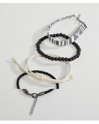 ASOS - Design Bracelet Pack In Monochrome With Beads - Lyst