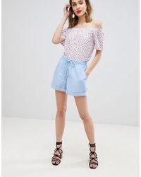 Vero Moda - Chambray Relaxed Shorts - Lyst