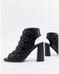 New Look Buckle Block Heeled Sandal - Black