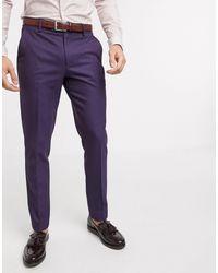 ASOS Wedding – Enge Anzughose aus Twill-Wollmischung - Rot