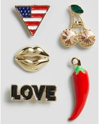ASOS - Limited Edition Pack Of 5 Chilli Lip Badges - Lyst