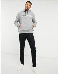 Calvin Klein Серая Худи С Логотипом На Груди И Надписью В Зеркальном Отражении -серый