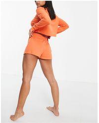 Missguided Ribbed Crop Shirt And Boxer Shorts Pyjama Set - Orange
