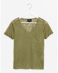Object V Neck T-shirt - Green