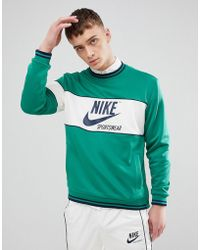 Nike - Archive Long Sleeve T-shirt In Green Ah0715-368 - Lyst