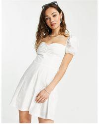 Bershka Poplin Button Down Milkmaid Dress - White
